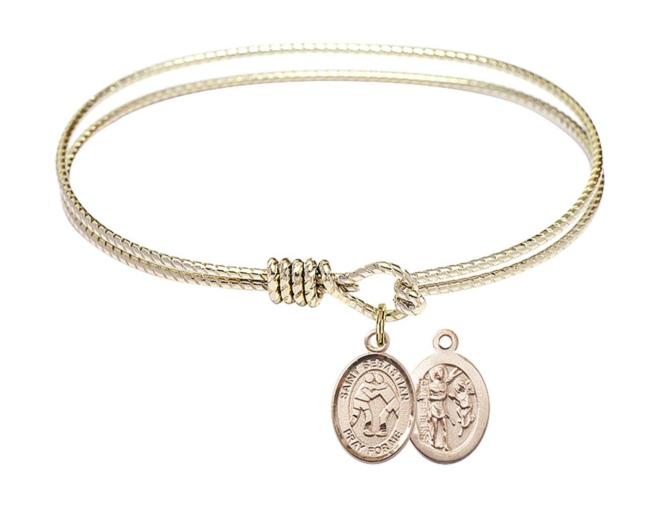 6 1/4 inch Oval Eye Hook Bangle Bracelet with a St. Sebastian/Wrestling charm.
