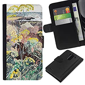 iBinBang / Flip Funda de Cuero Case Cover - Flowers Plants Painting Art - LG Optimus G3