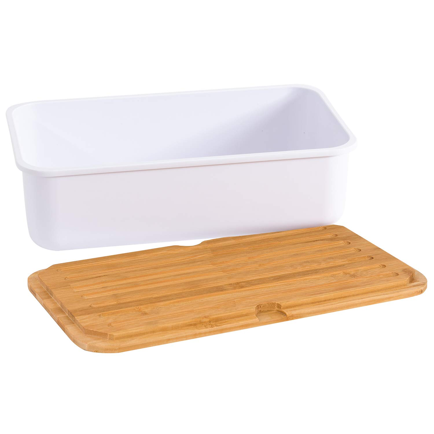 Caja de pan de metal con tabla de cortar color negro 33 x 18 x 12 ...