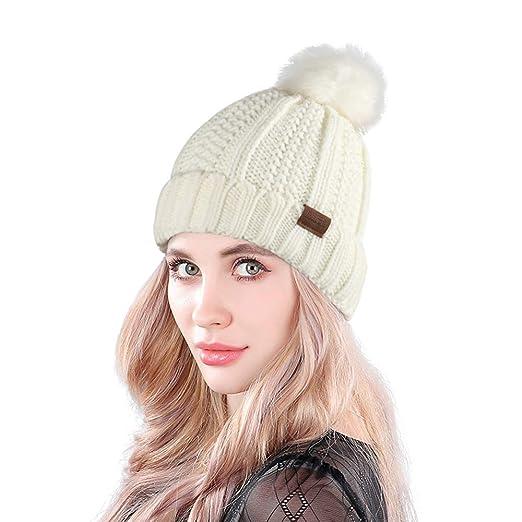 bf9b03cb1d04d MUCO Womens Beanie Winter Hat Knit Chunky Faux Fur Warm Linling Pom Poms  Hat Bobble Hat Ski Cap