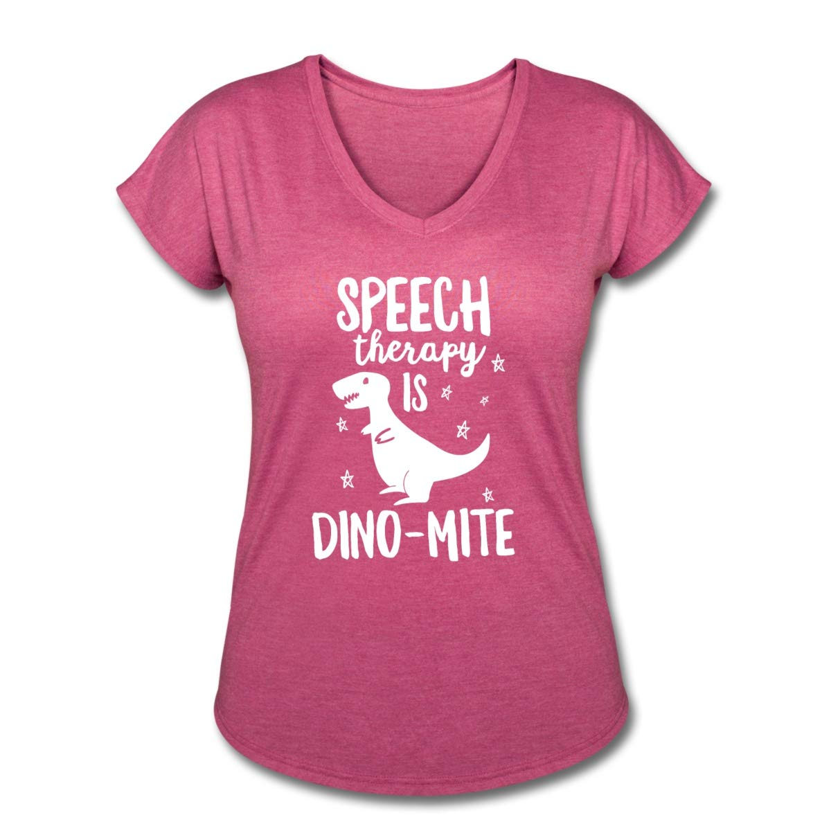 SLP Speech Therapy is Dino-Mite Women's Tri-Blend V-Neck T-Shirt