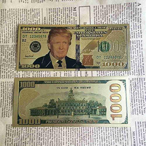 1 Pcs New Arrival Us 1000 Dollars Trump Gold Foil Banknote Paper Gold Commemorative Banknote