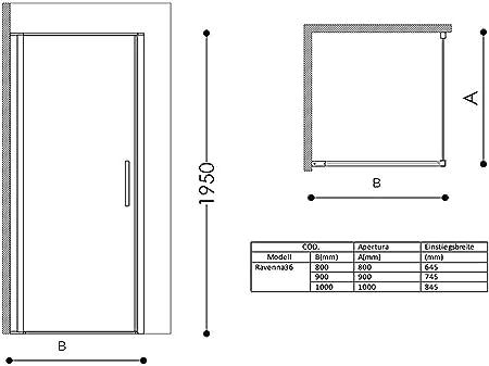 TBH: 80 x 90 x 195 cm diseño de la mampara de la ducha Ravenna36 ...