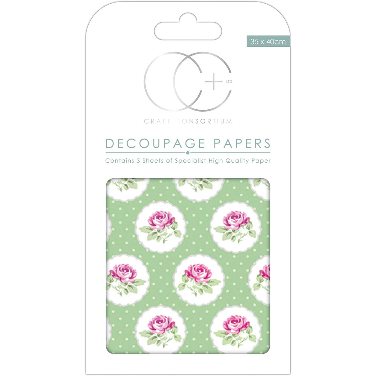 34 x 40 cm 3 Packungen Wildblumenwiese Craft Consortium DECP313 Decoupage-Papier