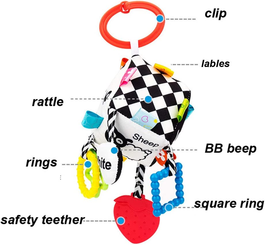 SKK BABY Black and White Soft Sensory Cube Pram Pushchair Car seat Clip on Activity Toy For 0-36 Months