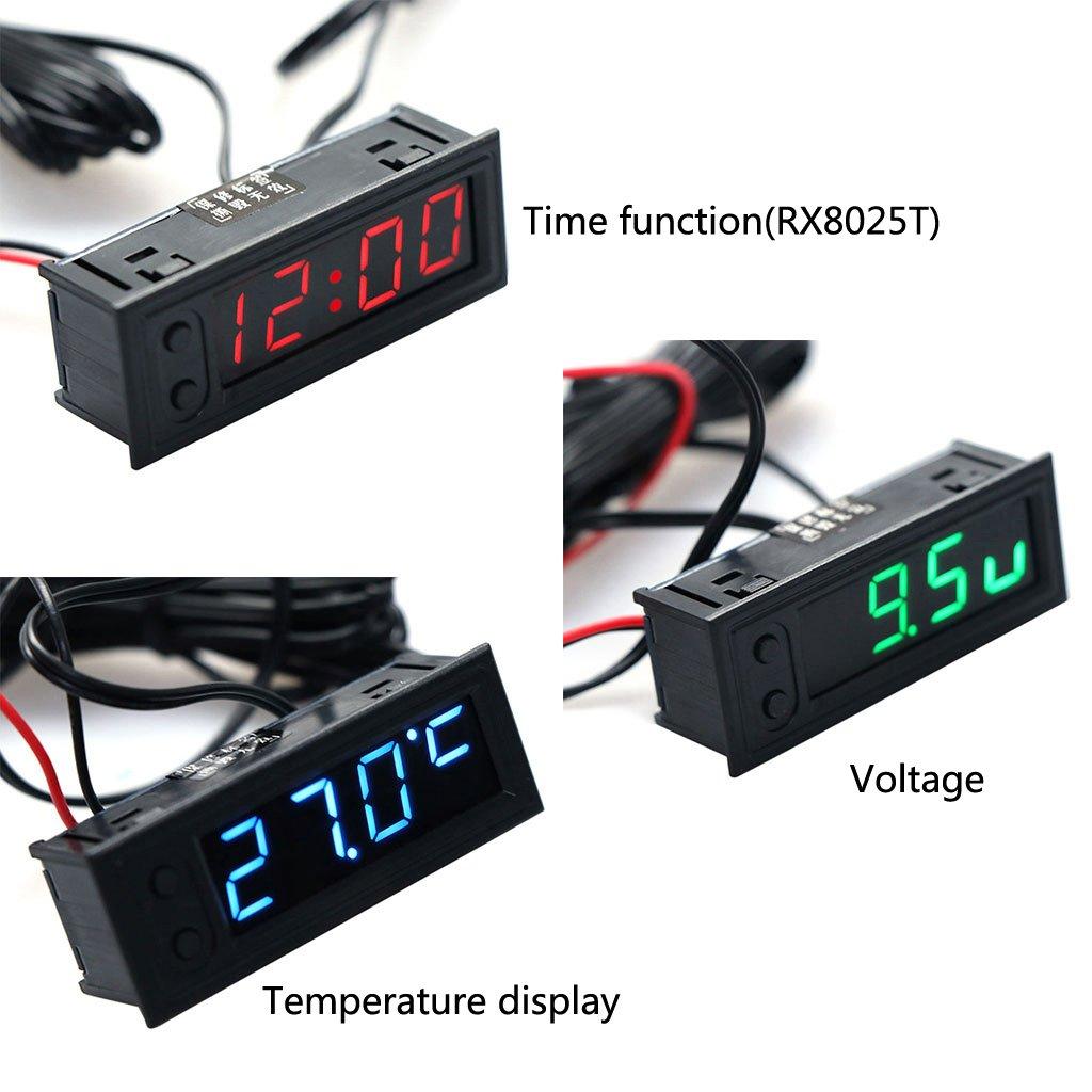35~120 ℃ Batteriespannung Monitor Voltmeter DC 12V Dchaochao DIY Multifunktionsuhr Auto Temperatur