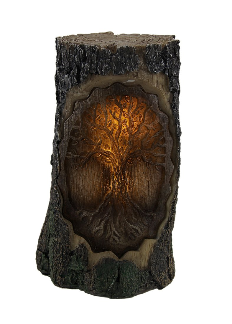 Resin Night Lights Brown Carved Wood Look Tree Of Life Led Night Light Statue 4.25 X 7.5 X 4.25 Inches Brown
