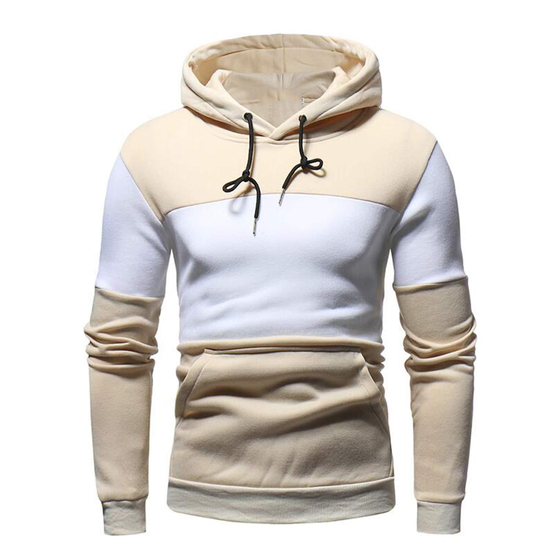 Hoodies Men Sweatshirt Hoodie Hip Hop Stitching Color Pullover Male Cotton Hoody