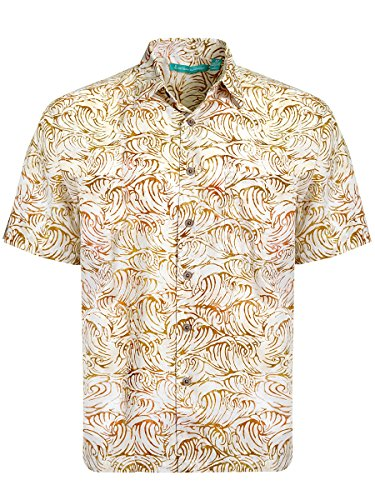 Artisan Outfitters Santa Monica Batik Cotton Shirt (L, Sand Brown) (Unique Batik)
