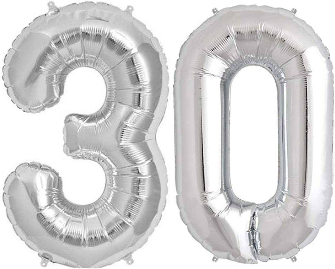 "SILVER 30/"" JUMBO HELIUM NUMBER SUPER SHAPE FOIL BALLOON 0-9"