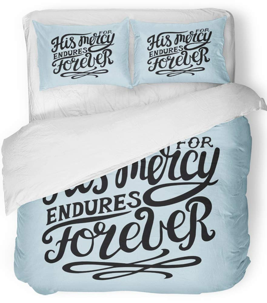 Emvency Bedsure Duvet Cover Set Closure Printed Decorative Hand Lettering His Mercy Endures Forever Biblical Christian Scripture Modern Breathable Bedding Set With 2 Pillow Shams Twin Size