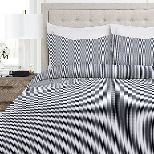 Italian Luxury Pinstripe Pattern Duvet Cover Set - 3-Piece Ultra Soft Double Brushed Microfiber Printed Cover with Shams - Full/Queen - Navy/White (Duvet Blue White)