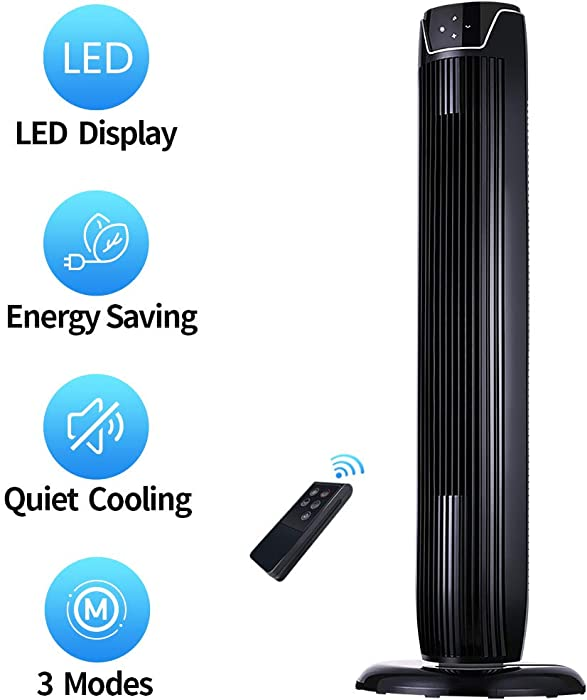 Tower Fan, Oscillating Quiet Cooling Fan Tower with LED Display, Timer and Remote, Built-in 3 Modes and Speed Settings, Portable Stand Floor Fans Safe for Children Bedroom and Home Office Use, 36-Inch