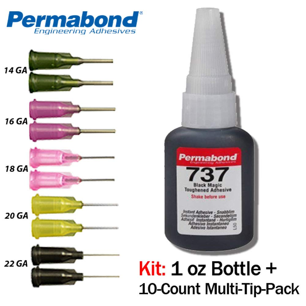 Permabond 737 (1oz Bottle+Tip Multipack) Adhesive-Black Magic Gel-Toughened & Flexible Temp-Resistant-Gap Filling
