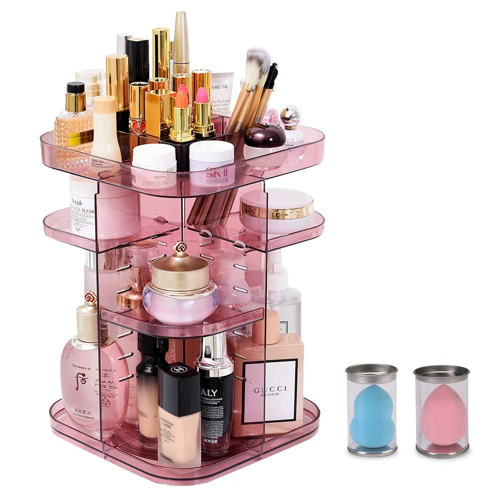 360 Rotating Makeup Organizer, Large Makeup Organizer, Square Cosmetic Organizer, Adjustable Makeup Brushes Holder for Countertop, Bedroom, Bathroom, Pink