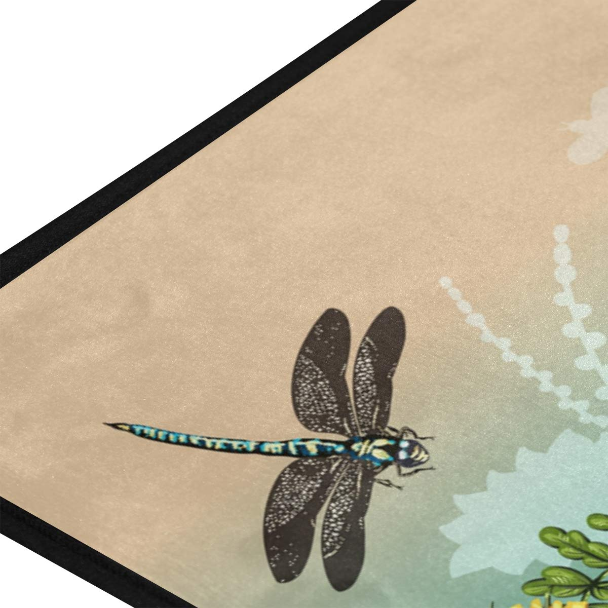AGONA Anti Fatigue Kitchen Mat Summer Dragonflies Butterfly Colorful Floral Kitchen Rugs Non Slip Soft Standing Mats Absorbent Floor Mat Bath Rug Runner Area Rug Carpet for Home Decor Indoor Outdoor