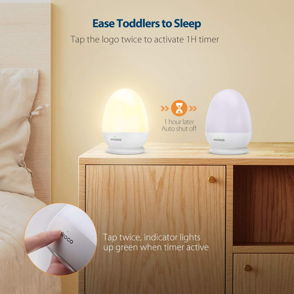 Miroco Night Lights for Kids, LED Baby Nightlight Breastfeeding Light 100% Toddler Safe, Touch Lamp USB Bedside Lamp Dim Nursery Lamp Diaper Changing Night Light, Soft Eye Caring, Timer Setting by Miroco (Image #5)