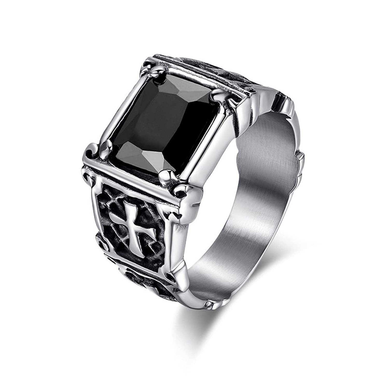 UM Jewelry Stainless Steel Crystal Men's Ring Biker Vintage Celtic Cross Band