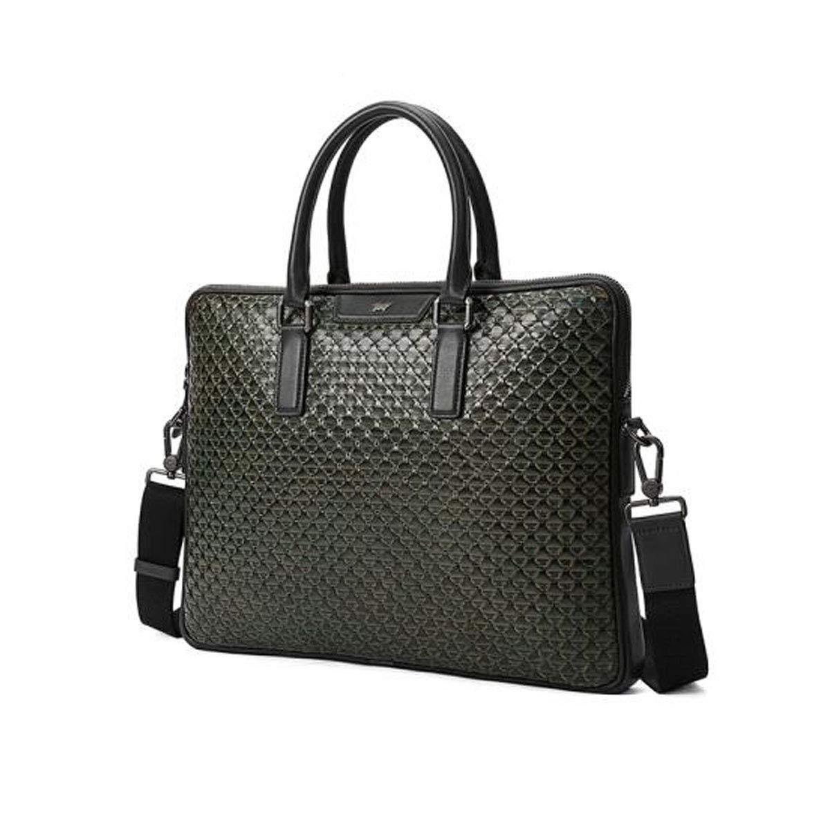 Hengxiang メッセンジャーバッグ、ラップトップブリーフケース、メンズファッション織りパターン、レザーポータブルビジネスコンピュータバッグ、グリーンサイズ:39.54.830cm ビジネスオフィスメッセンジャーバッグ(色:ピンク)   B07PCQ1DL1