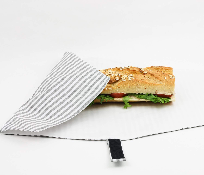 Funda para comida ajustable, reutilizable, impermeable y lavable. Producto eco, sostenible. Plástico alimentario libre de BPA. Raya gris