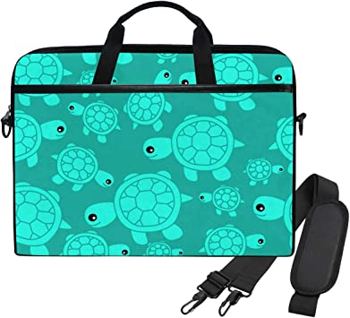 Turquoise Starfish Seahorse Sea Animal Laptop Case 14 Inch Carrying Case with Strap