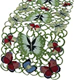 Xia Home Fashions Butterflies Embroidered Cutwork Spring Table Runner, 15-Inch by 70-Inch