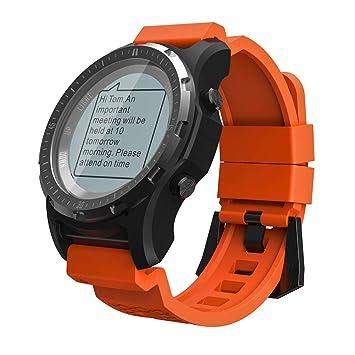 OOLIFENG Reloj Running con GPS, Fitness Reloj Inteligente con Incorporado Pulsómetros, Barómetro, Brújula, etc. para Al Aire Libre Aventurero,Orange: ...