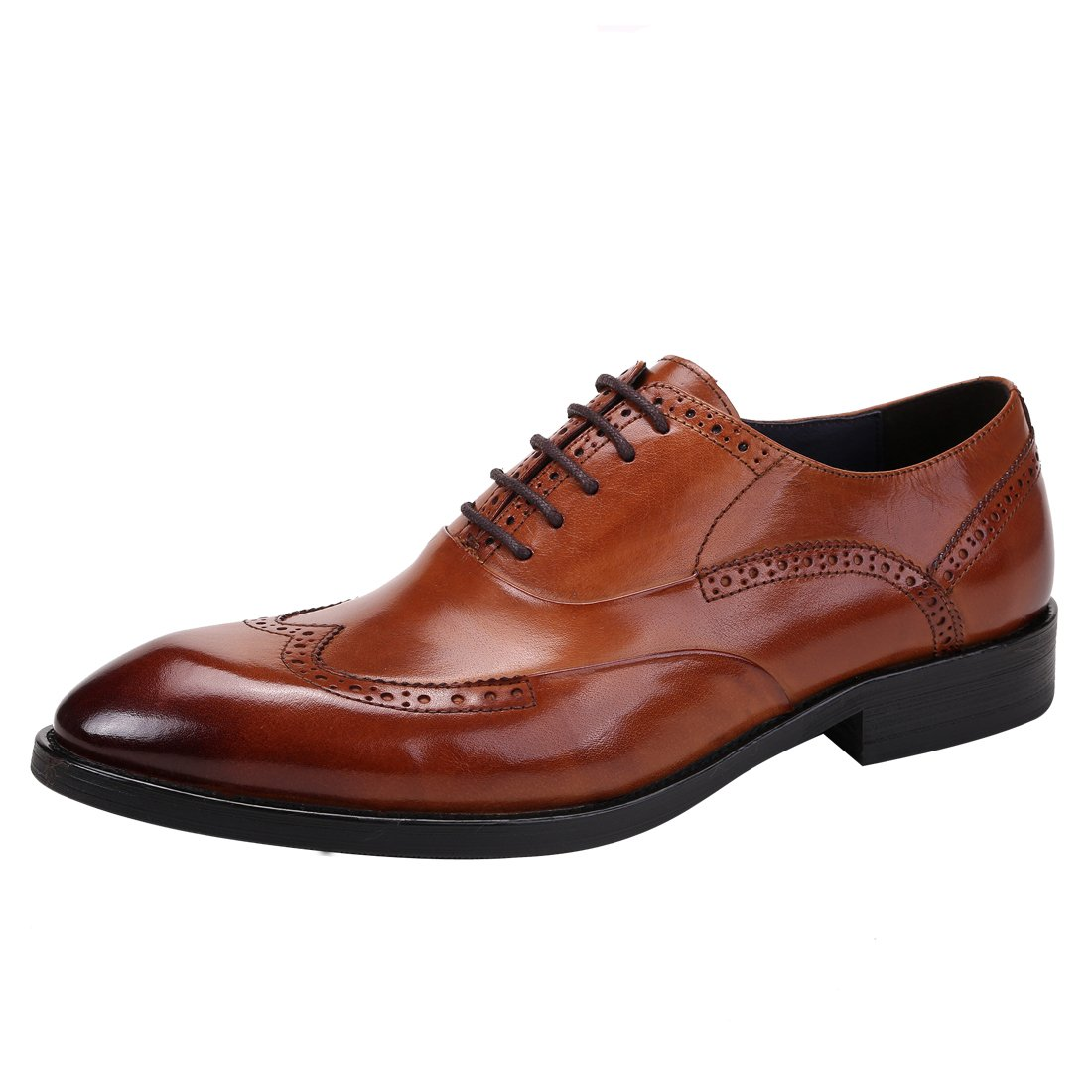 Brown Genuine Leather Brogue for Mens Business Wedding Oxford Formal Up Lace shoes Party for