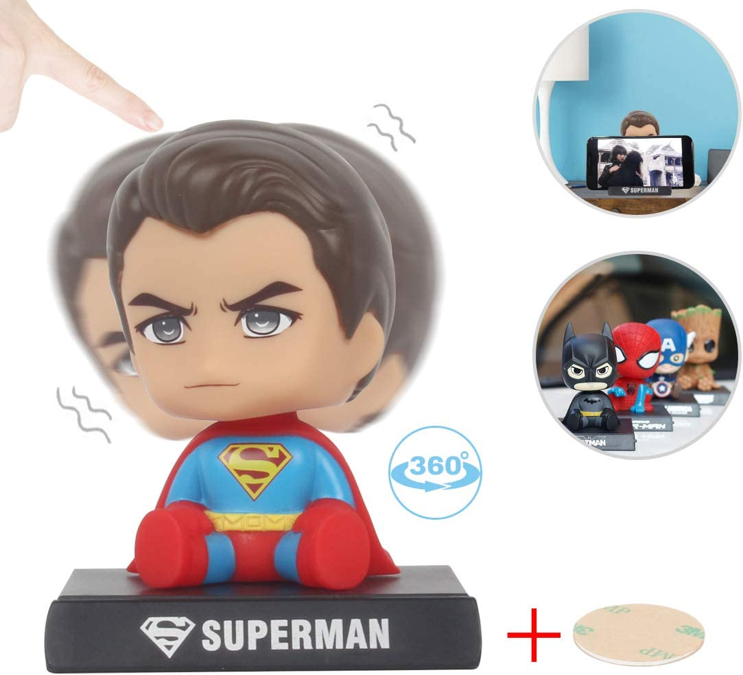 Coolgu Superhero Marvel-Hero Cartoon Cute Model Collectible Toy, Car Decoration Mobile Phone Holder Dashboard/ Office Home Accessories /Holiday Decoration/ Bobblehead Doll Kid's Gift (Superman)