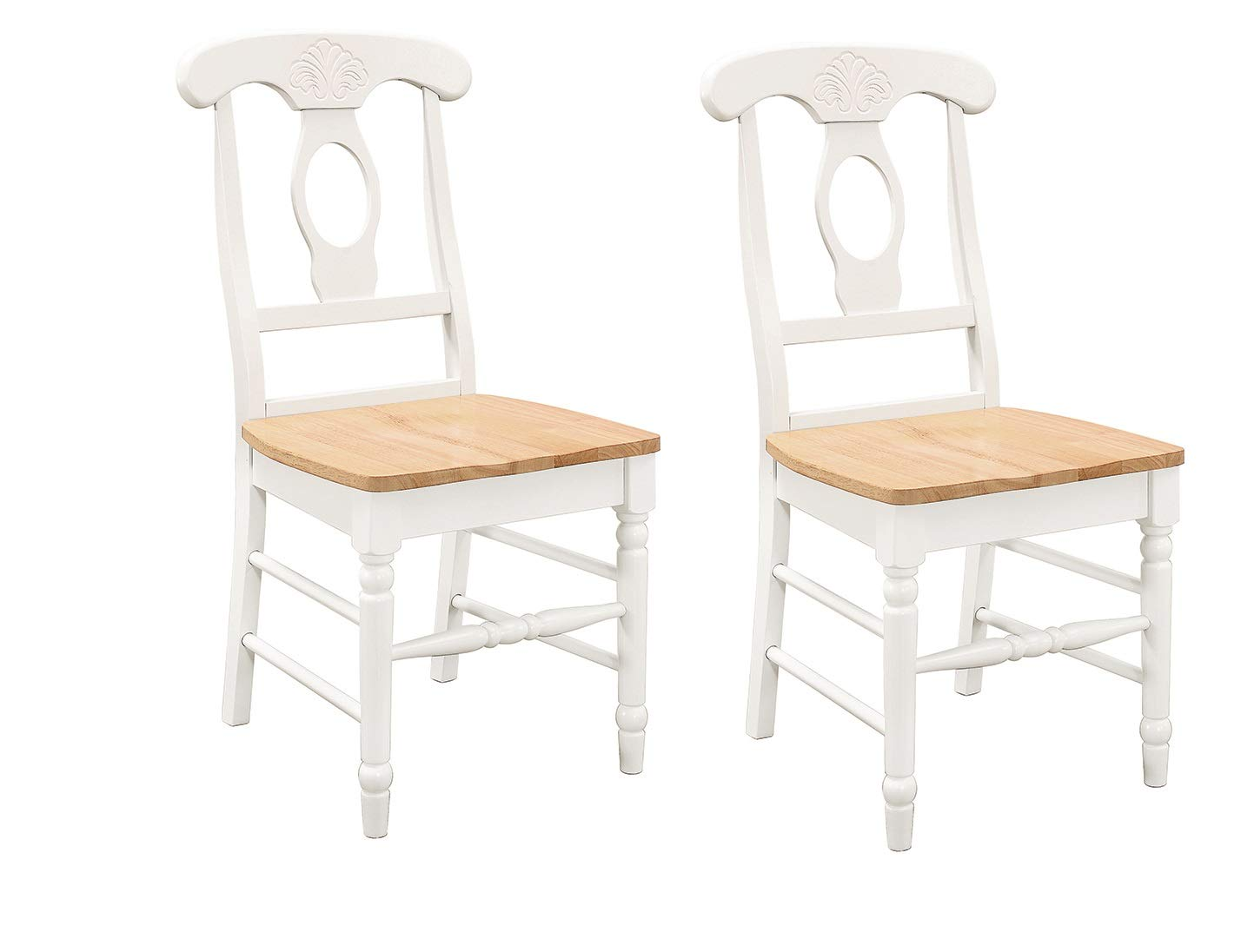 Damen Napoleon Dining Side Chairs Natural Brown and White Set of 2