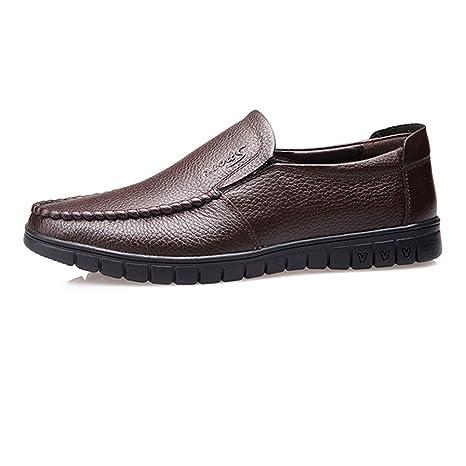 Jingkeke Calzado de conducción de Cuero Genuino clásico de los Hombres Slip-on Zapatos Mocasines de Suela Plana Suave Durable (Color : Perforación Oscuro BN ...