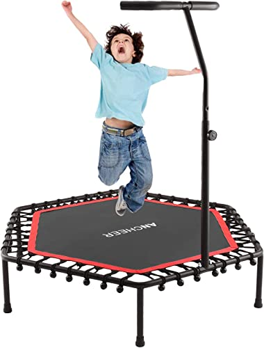 ANCHEER Trampoline, Mini Rebounder Trampolines with Adjustable Handle, Exercise Trampoline for Indoor Garden Workout Cardio, Parent-Child Trampoline Max Load 220lbs
