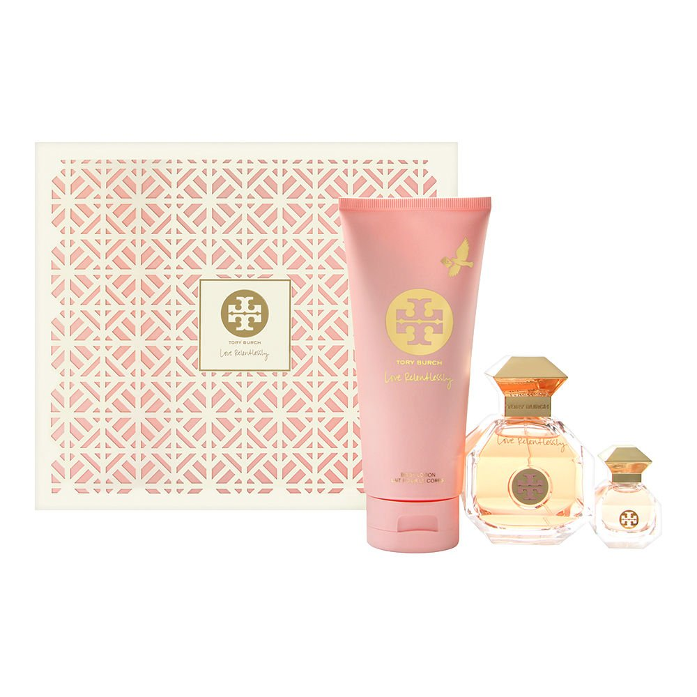 Tory Burch Love Relentlessly 3PC Set: 3.4 oz Eau de Parfum Spray + .24 oz Eau de Parfum + 6.7 oz Body Lotion