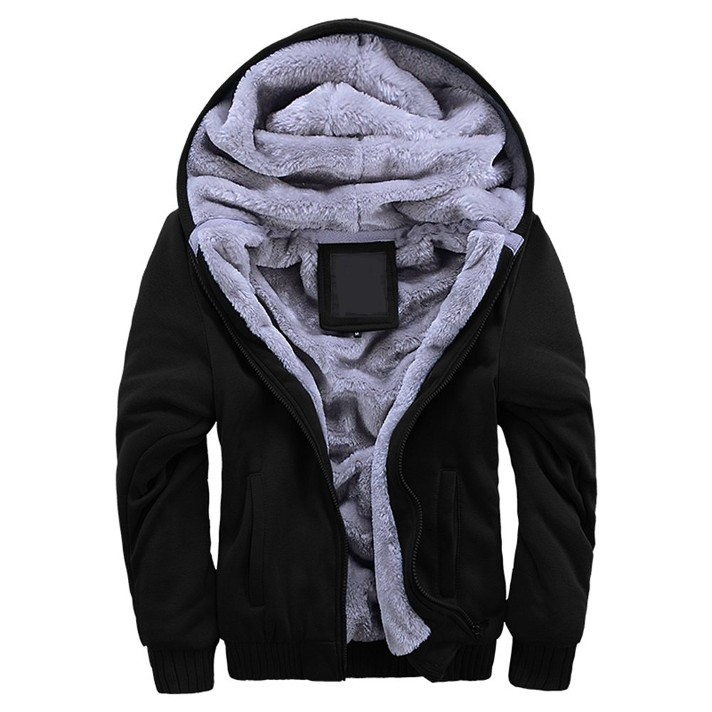 Manluodanni Men's Fleece Hooed Hoodies Thick Wool Warm Winter Jacket Coats
