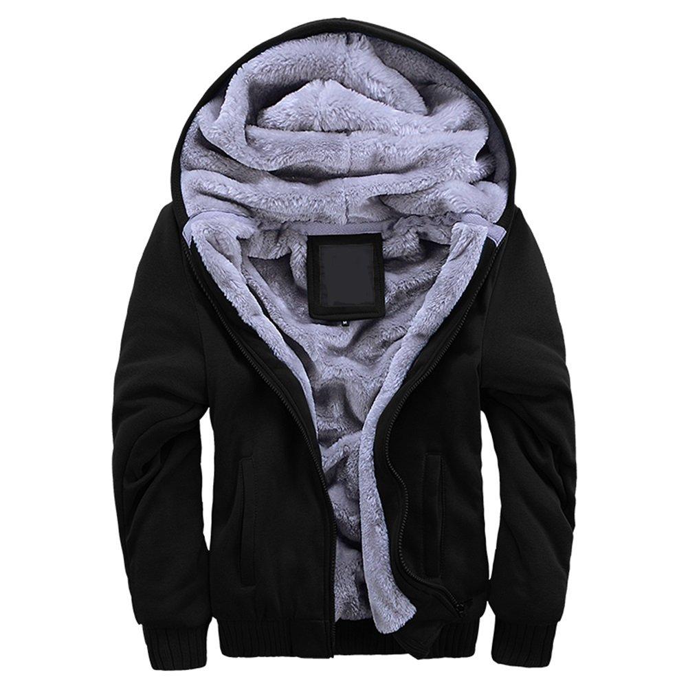 MANLUODANNI Men's Solid Hooed Hoodies Thick Wool Warm Winter Jacket Coats Gray L
