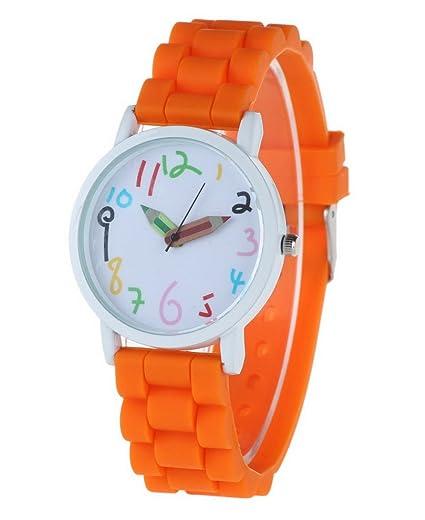 FEOYA - Reloj Pulsera para Adolescentes de Cuarzo Analógico Silicona Números Esfera Grande para Niños Niñas Aprender Horas - Naranja: Amazon.es: Relojes