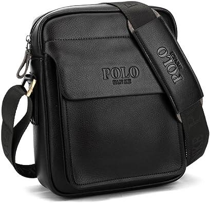 TIANHONGDS Men's Genuine Leather Shoulder Bag Messenger Bags Business Briefcase Composite Leather Classic Casual Bag (Black)