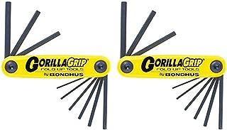 product image for Bondhus 12591 GorillaGrip Set of 9 Hex Fold-up Keys, sizes .050-3/16-Inch - 2 Pack