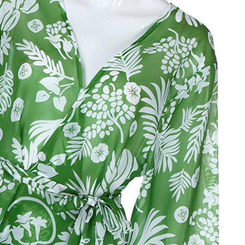 Kimono Cardigan Womens Leaf Print Cover Blouse Swimsuit Smock Tops (XL, Green) by OVERMAL Clearance (Image #5)