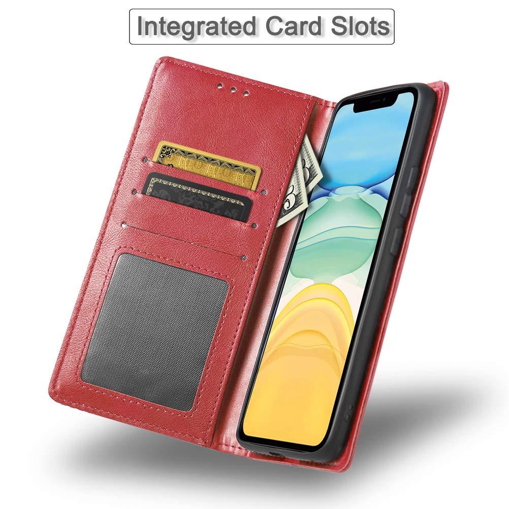 iHOY Funda para iPhone XIR 6.1//iPhone 11, Cuaderno Cuero PU Retro y Elegante Cubierta Suave con Cierre Magn/ético Incorporado