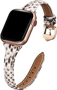WFEAGL Leather Bands Compatible with Apple Watch 38mm 40mm 42mm 44mm, Top Grain Leather Band Slim & Thin Wristband for iWatch SE & Series 6/5/4/3/2/1 (Snake Band+Rose Gold Adapter, 38mm 40mm)