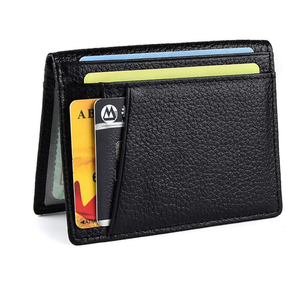 Leather Mens Slim Front Pocket Wallet Genuine Bifold ID//Credit Card Holder by Greatstar 2 ID Window 8 Card Slot