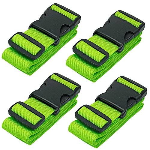 BlueCosto Luggage Strap Suitcase Straps Belts Travel Accessories, 4-Pack, Green