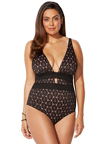 a8a8ab5c69a97 Swimsuits For All Women s Plus Size V-Neck Plunge One Piece Swimsuit 6 Black