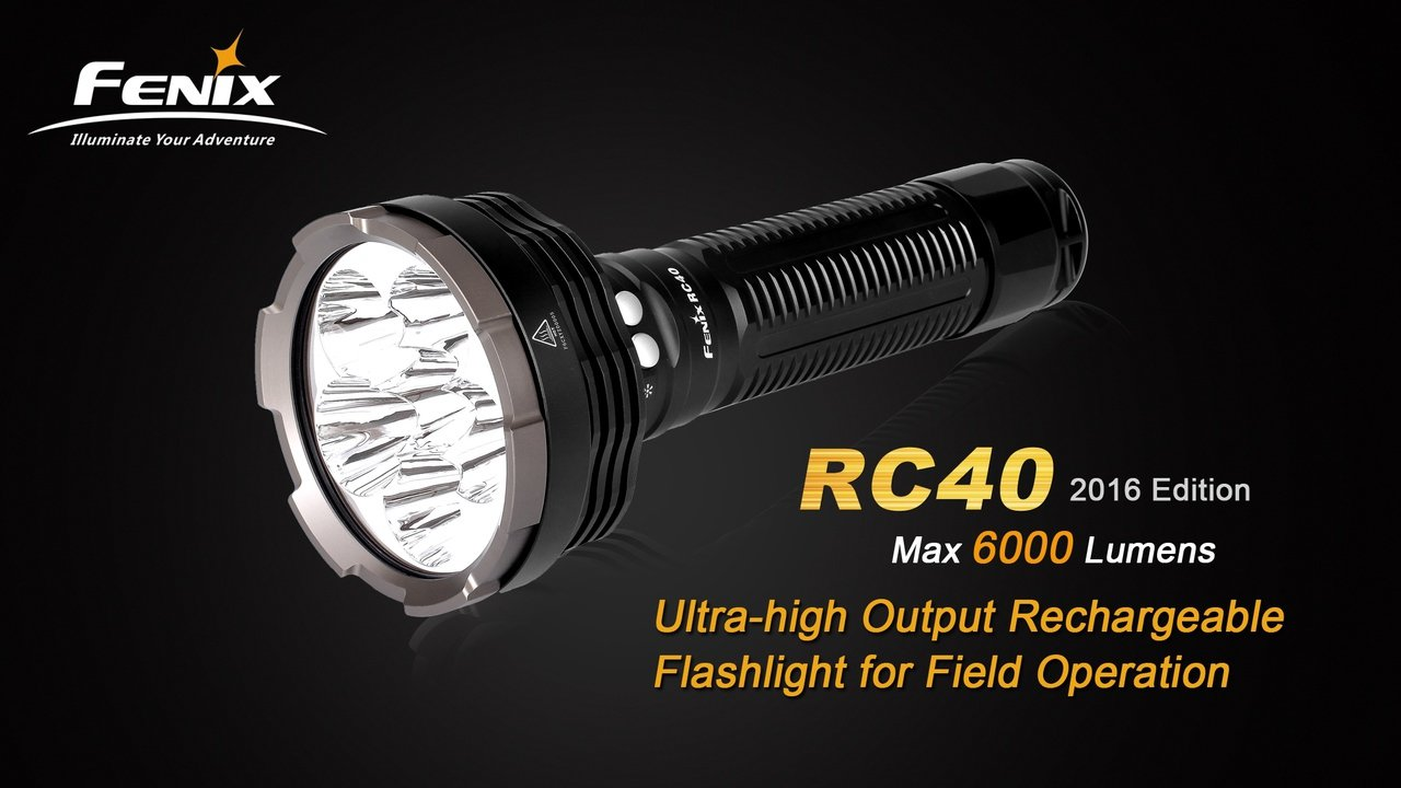 FENIX RC40 Rechargeable 6000 Lumen Cree XM-L2 U2 LED Flashlight/ Searchlight with Car / Home charger, Fenix CL05 Lip light and EdisonBright AAA battery by EdisonBright (Image #3)