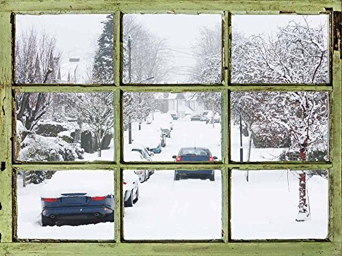 Window View Wall Mural It Snowed Last Night Vintage Style Wall Decor Peel and Stick Adhesive Vinyl Material