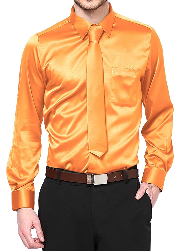 Daniel Ellissa Orange Satin Dress Shirt with Neck Tie and Hanky Kids to Youth Sizes