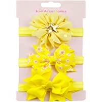 Halau 3Pcs Baby Girls Flower Bow Princess Headband Head Wrap Soft Head Wrap Photo Prop Elastic Head Band Hair Accessories