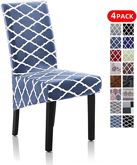 Stretch Dining Chair Slipcovers, XL/Oversized Removable Washable Soft Spandex Extra Large Dining Room Chair Covers for Kitchen Hotel Table Banquet Geometric Print (4 Per Set, Lake Blue)
