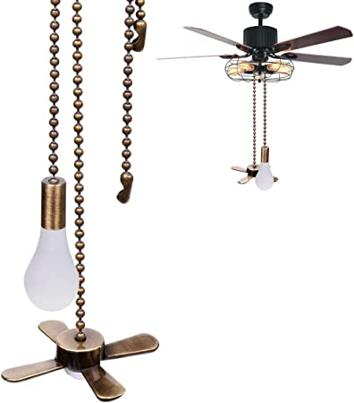 2 Pcs Ceiling Fan Pull Chain 12.5 Fan//13.6 light bulb Pulls Set with Connector for Ceiling Light Fan Chain 2 Pcs Fan and Light Bulb Shaped Pull Chain Set,3mm Diameter Beaded Ball Fan Pull Chain